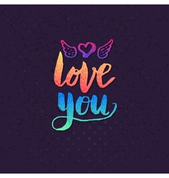 Attractive Love you Texts on Violet Background vector image