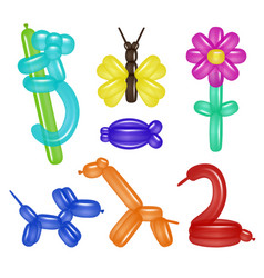 Balloon animals and flower set vector
