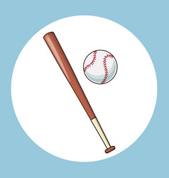 baseball bat and ball equipment icon vector image vector image