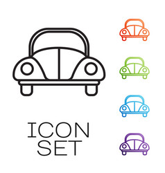 Black line car volkswagen beetle icon isolated on vector