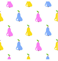 bright summer juicy pear cartoon seamless pattern vector image