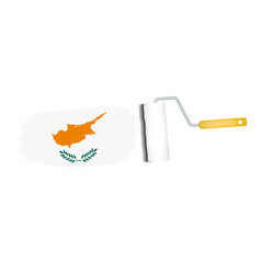 brush stroke with cyprus national flag isolated on vector image