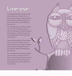 Card for text with an owl on a purple background vector