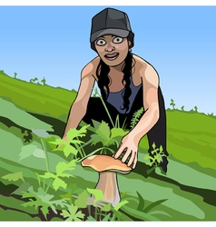 cartoon girl found a mushroom in the grass vector image