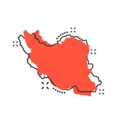 cartoon iran map icon in comic style iran sign vector image