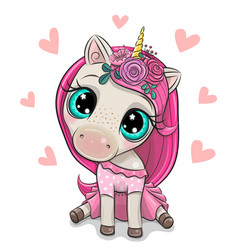Cartoon unicorn girl with hearts on a white vector