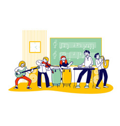Children on lesson in music school students vector