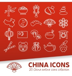 china outline icons vector image