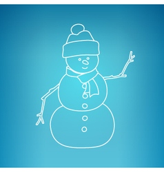 Christmas Snowman on a Blue Background vector image