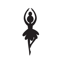christmas tree ballerina toy black silhouette vector image