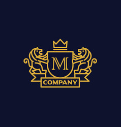 Coat arms letter m company vector