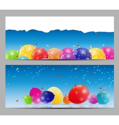 Color glossy balloons card background vector image