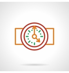 Color simple line wall clock icon vector image