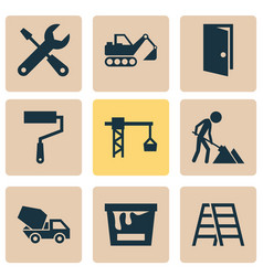 construction icons set with construction works vector image