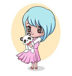 Cute little girl holding panda doll vector
