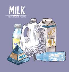 Digital detailed line art milk vector