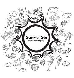 Doodle monochrome summer vacation elements set vector