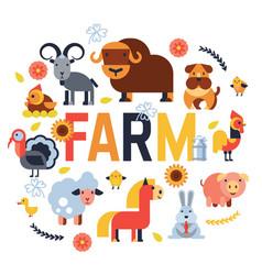 Farm animals set domestic farming vector