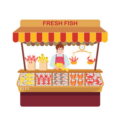 Fish market with sellers and seafood vector