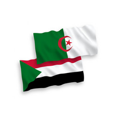 Flags sudan and algeria on a white background vector