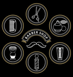 Flat barber shop tools icon vector