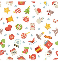 Flat christmas icons seamless pattern background vector image