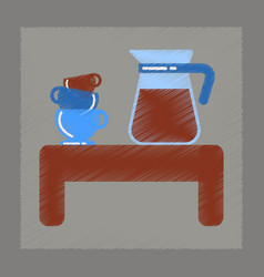 Flat shading style icon cup of coffee table vector