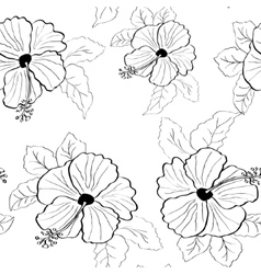 Flower pink hibiscus seamless pattern vector