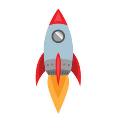 flying rocket spaceship icon space travel flat vector image