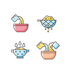 Food preparation instruction rgb color icons set vector