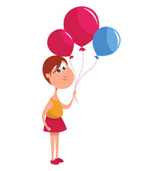 girl with balloons on white background vector image