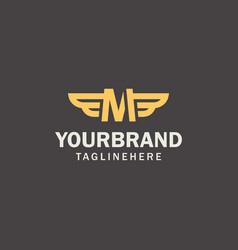 Gold letter m wings logo modern elegant lines vector