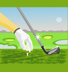 golfers are holding the golf ball vector image