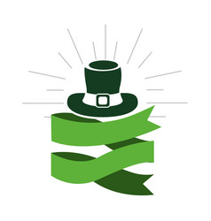 Green hat st patrick with ribbon decoration vector