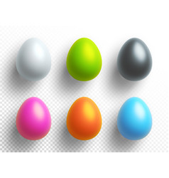 happy easter holiday set of colored eggs with vector image