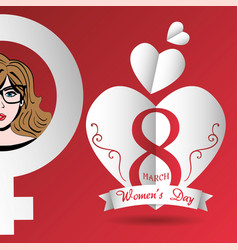 happy womens day card hearts march 8 vector image