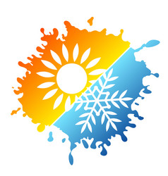 Heating and cooling air sun and snowflake symbol vector