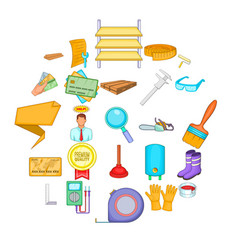house reconstruction icons set cartoon style vector image