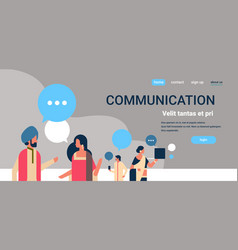 indian people chat bubbles communication concept vector image
