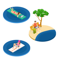 isometric freelance workers on beach vector image