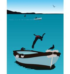 jumping from a boat vector image