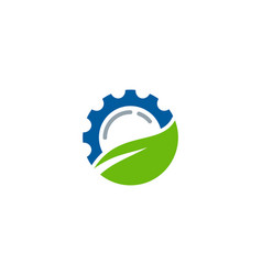leaf gear logo icon design vector image