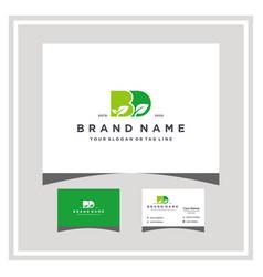 Letter bd leaf logo design and business card vector