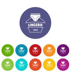 Lingerie beautiful icons set color vector