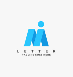 logo abstract letter m and i line art style vector image