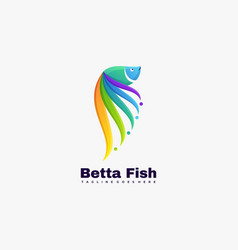 Logo fish gradient colorful style vector