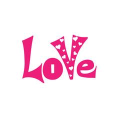 love - hand-drawn typography design element vector image