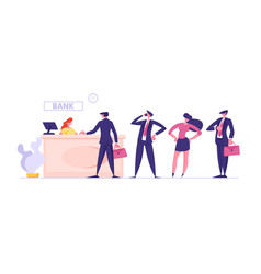 Male and female clients stand in queue in bank vector