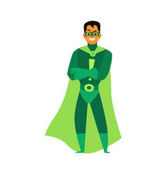man brunet asian or latino superhero standing in a vector image