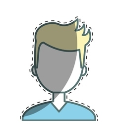 Man character with cutting line vector